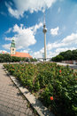 Marienkirche and fernsehturm berlin the maria church the tv tower in germany Royalty Free Stock Image