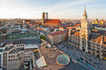 The Marienplatz and the Frauenkirche Royalty Free Stock Photo