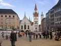 Marienplatz munich germany may people crowds at central city square of with famous old city hall alltes rathaus building on Royalty Free Stock Photography