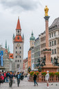 Marienplatz in munich with virgin mary statue Royalty Free Stock Image