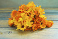 Marigold flowers against wooden background Stock Images
