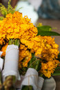 Marigold in tray for pay homage to a buddha image Stock Photo