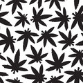 Marihuana ganja weed black and white seamless vector pattern leafs Stock Photography