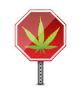 Marihuana stop cannabis use sign illustration design over white Stock Photography