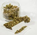 Marijuana close up of cigarettes and medical Royalty Free Stock Photos
