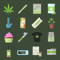Marijuana equipment and accessories for smoking, storing and growing medical cannabis. Colorful ganja vector icon set flat style