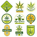 Marijuana, hashish, drug medicine vector logos and labels set Royalty Free Stock Photo