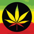 Marijuana leaf illustreation illustration with rastafarian colors Royalty Free Stock Images