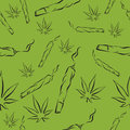 Marijuana leafs and joints seamless pattern, Mj vector background