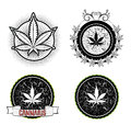 Marijuana and weed symbol badges Royalty Free Stock Photo