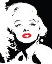 Marilyn monroe black and white with red lips Royalty Free Stock Photo