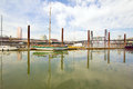 Marina along willamette river with steel bridge in portland oregon Royalty Free Stock Image