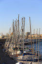 Marina barcelona sailboats moored in the harbor in a sunny day quiet Royalty Free Stock Images
