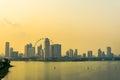 Marina Barrage and Singapore flyer at sunset Royalty Free Stock Photo
