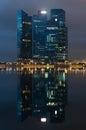 Marina bay financial centre en la noche Foto de archivo