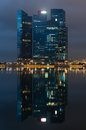 Marina bay financial centre la nuit Photo stock