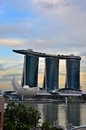 Marina bay sands art science museum and singapore river april a photo of two of s iconic structures the hotel casino as well as Royalty Free Stock Image