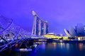 Marina bay sands and helix bridge in twilight time Royalty Free Stock Photo