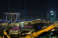 Marina bay sands at night when the laser show from building Royalty Free Stock Image