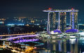 Marina bay sands at night singapore march view of in singapore hotel is part of a huge complex that not only Royalty Free Stock Photos