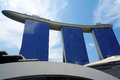 Marina bay sands resort closeup of the in singapore with blue sky background it offers approximately luxury rooms and suites Stock Photography