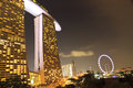 Marina Bay Sands and Singapore eye Royalty Free Stock Photos