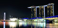 Marina bay sands singapore night view of the hotel arts and science museum and flyer Royalty Free Stock Photos