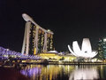 Marina bay singapire the night cityscape of singapore Royalty Free Stock Image