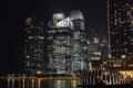 Marina bay singapore circa november night view of s Royalty Free Stock Images