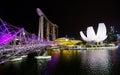 Marina bay singapore helix bridge and marina bay sand hotel at night a popular destination for cityscape singapore Royalty Free Stock Image