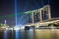 Marina bay spectacular laser show singapore Royalty Free Stock Image