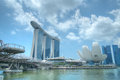Marina bay waterfront singapore featuring marina bay sands lotus shaped artscience museum helix bridge Stock Photography