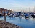 Marina with boats and Mt.Ranier in Tacoma, WA. Royalty Free Stock Photo