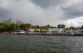 Marina in brasilia a with sailing boats brazil and the storm weather clouds the horizon Stock Photography