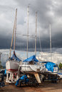 Marina in brasilia a with sailing boats and stormy clouds brazil Stock Photo