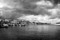 Marina at chania the small crete greece a small venetian style port a storm is on its way Royalty Free Stock Photo