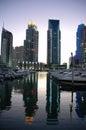 Marina de Dubaï au crépuscule Image libre de droits