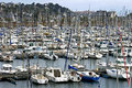 Marina full of sailboats in seaside resort france region brittany the pink granite rocky coast department cotes armor community Royalty Free Stock Photography