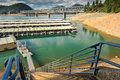 Marina on lake shasta with steep steps lead to a dock Stock Photos