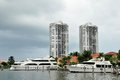 Marina with luxury yacht yachts moored in in waterways north miami beach florida Stock Photography
