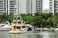 Marina with luxury yachts yacht in in waterways north miami beach florida Royalty Free Stock Photography