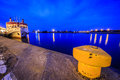 Marina at night in szczecin poland boat moored in the harbor Stock Photography