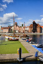 Marina and old town of gdansk skyline on the motlawa river the in poland Royalty Free Stock Photography