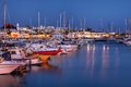 Marina rubicon lanzarote spain night scene of a small resort port along the playa blanca coast on island of the canaries Stock Image