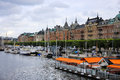 A marina in stockholm, sweden Royalty Free Stock Photo