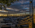 Marina at sunset Royalty Free Stock Photo