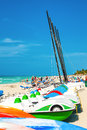 Marina and tourists enjoying the beach in varadero cuba april recreational april with a growth of tourism has Royalty Free Stock Photo
