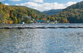 Marina and townhouses on Cheat Lake Morgantown Royalty Free Stock Photo