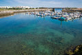 Marina wide angle view of with crystal clear water Stock Image