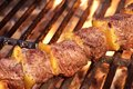 Marinated BBQ Meat Or Beef Kebab Kabob On Hot Grill Royalty Free Stock Photo